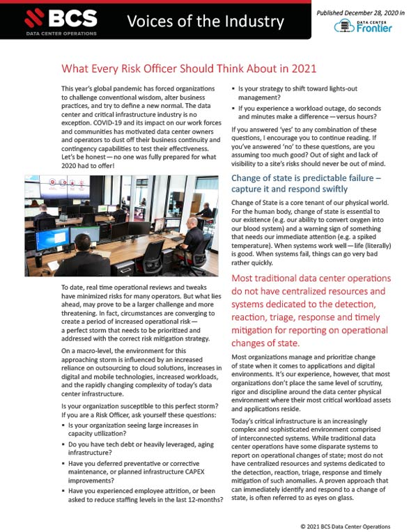 Voices Industry - What Every Risk Officer Should Think About in 2021